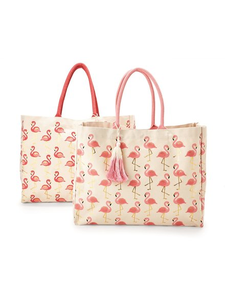 Two's Company Flamingo Print Tote With Monogram