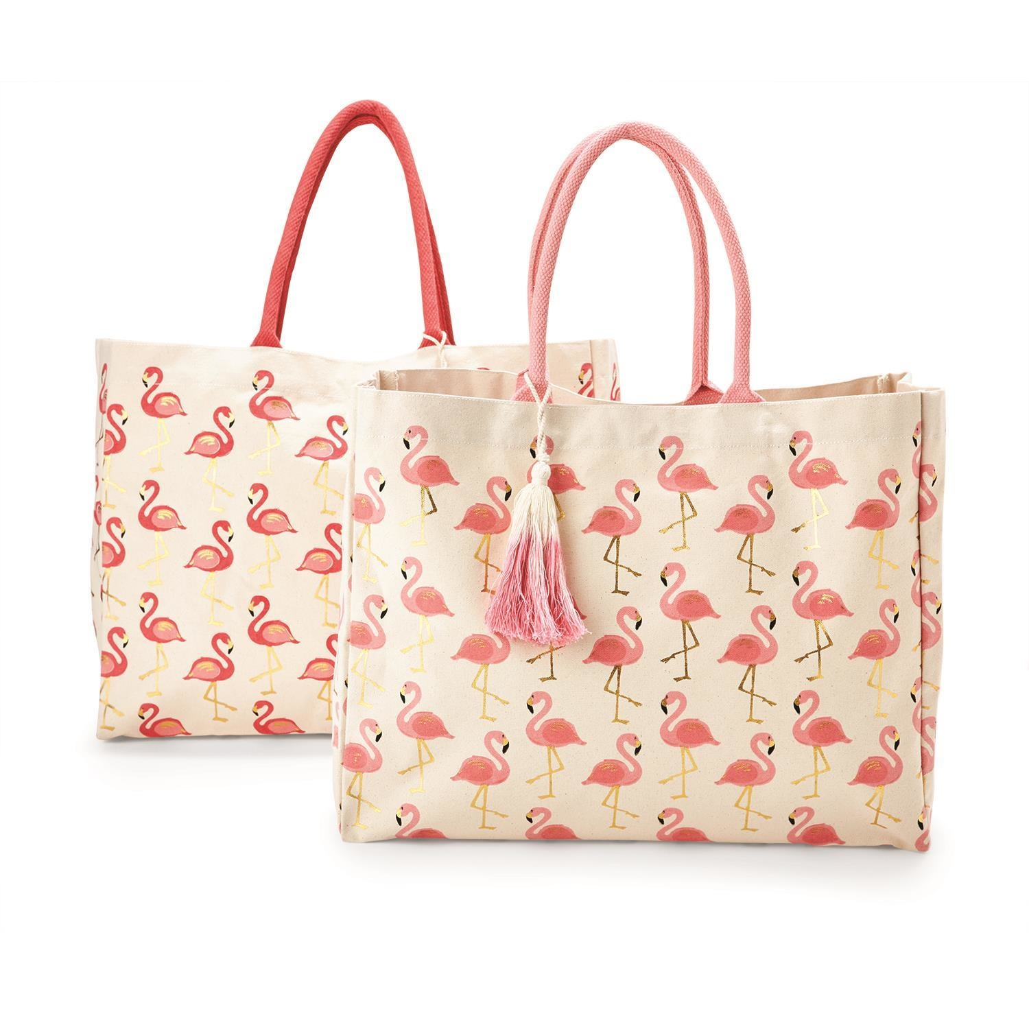Flamingo Print Tote Bag With Monogram Included