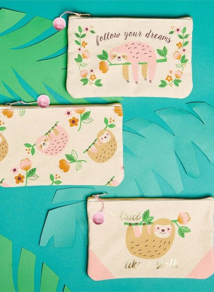 Two's Company Monogrammed Sloth Pouch - 3 Designs