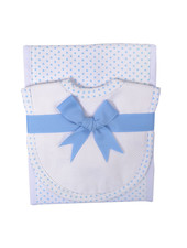 3 Marthas Blue Dot Drooler Bib & Burp Set