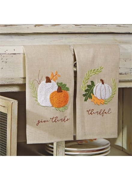 Mudpie Thanksgiving French Knot Towels - 2 Designs