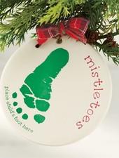 Mudpie Mistletoes Baby Foot Print Ornament