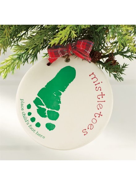 Mudpie Mistletoes Baby Foot Print Ornament