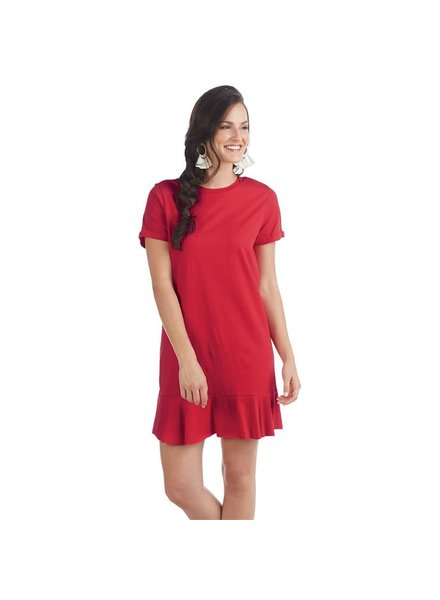 Mudpie Monogrammed Red T-Shirt Dress