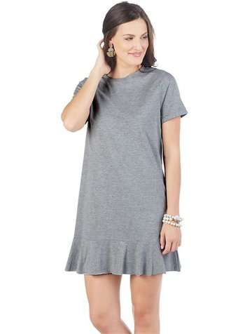 Mudpie Monogrammed Grey T-Shirt Dress