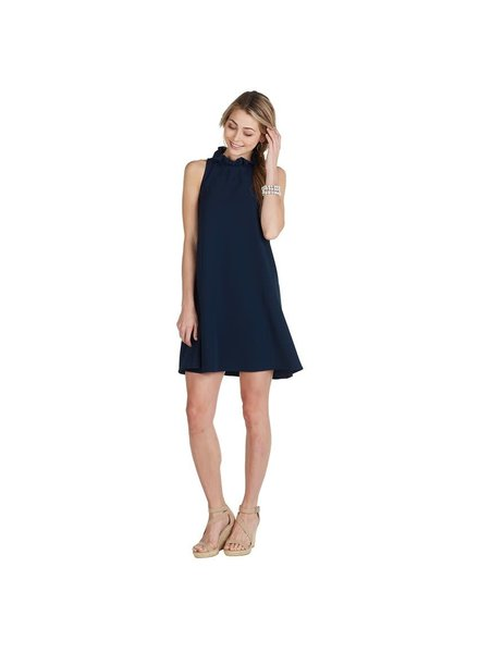 Mudpie Navy Ruffle Neck Dress