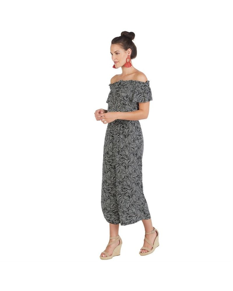Mudpie Mudpie Jasmine Black Palm Jumpsuit