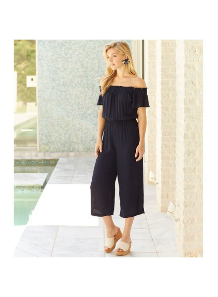 Mudpie Navy Off-the-Shoulder Jumpsuit