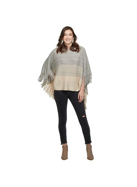 Mudpie Fringed Poncho - 3 Color Options
