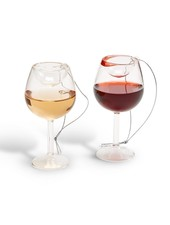 Two's Company Wine Glass Ornament - Red & White