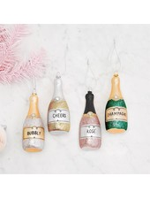 Two's Company Champagne Bottle Ornaments
