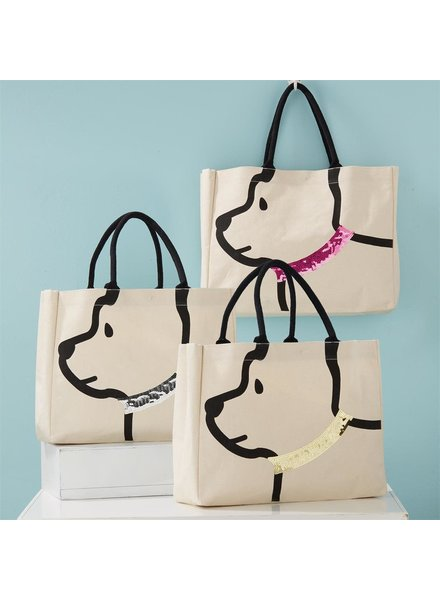 Two's Company Sequin Collar Dog Tote Bag - 3 Options