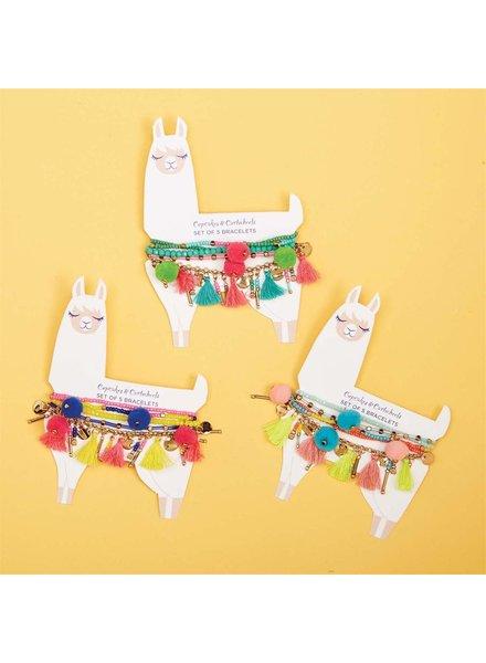 Two's Company Llama Tassel Bracelet Set - 3 Color Options