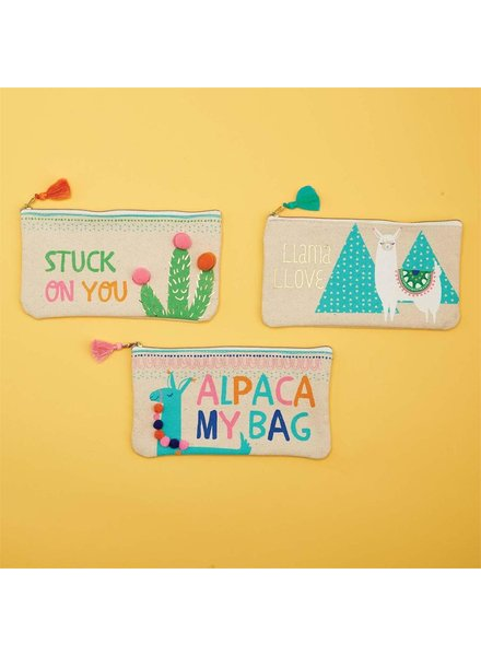 Two's Company Alpaca Zip Pouch - 3 Design Options