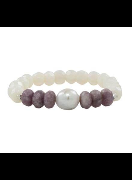 Sea Lustre Lavender Jade & Pearl Elastic Bracelet