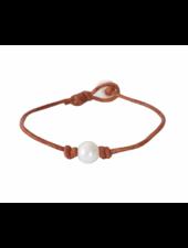 Sea Lustre Single Pearl & Leather Bracelet - 2 Color Options