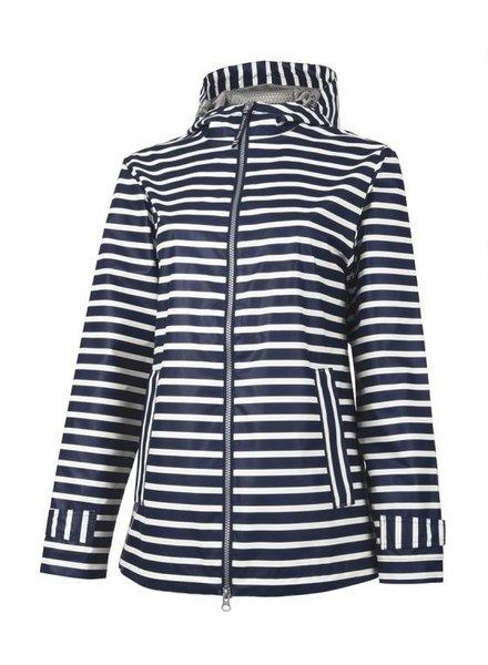 Navy Striped Rain Jacket With Monogram