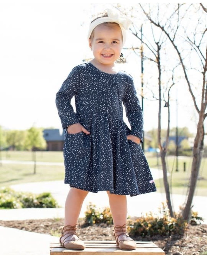 Ruffle Butts Monogrammed Navy Dots Twirl Dress