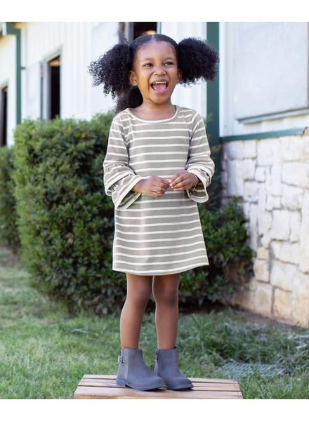 Ruffle Butts Gray & Ivory Stripe Dress With Monogram