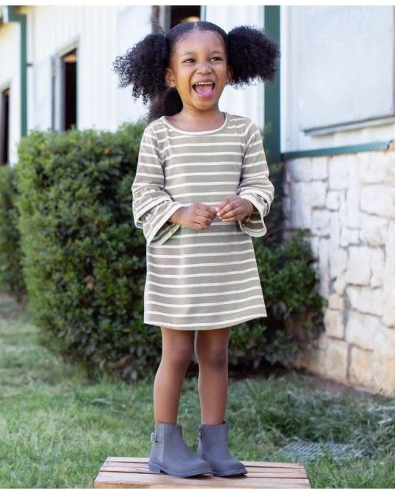 Ruffle Butts Ruffle Butts Gray & Ivory Stripe Knit Dress