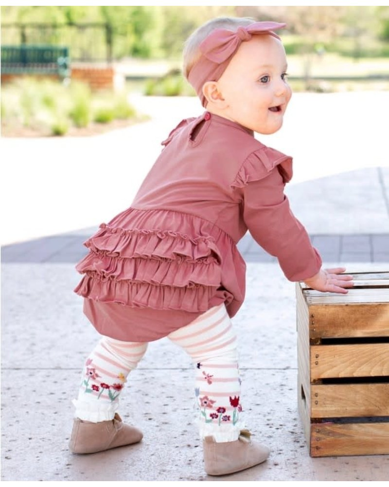 Ruffle Butts Monogrammed Mauve Bubble Romper