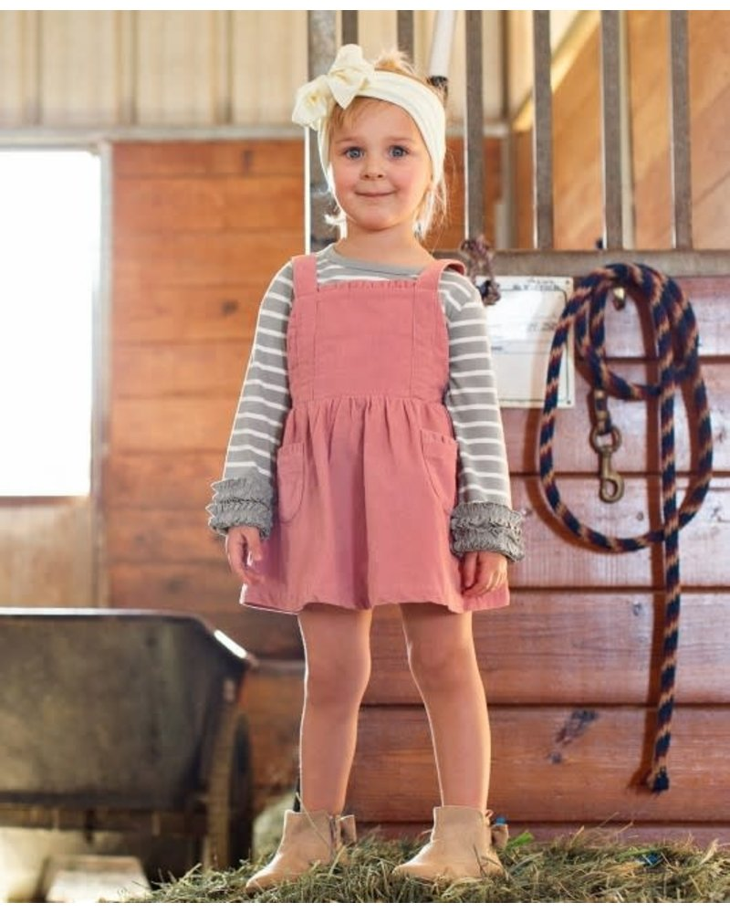 Ruffle Butts Monogrammed Mauve Corduroy Overall Dress