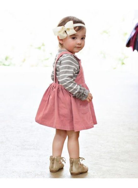 Ruffle Butts Mauve Corduroy Pinafore Overall Dress