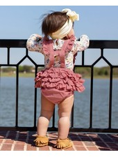 Ruffle Butts Mauve Corduroy Overall Romper