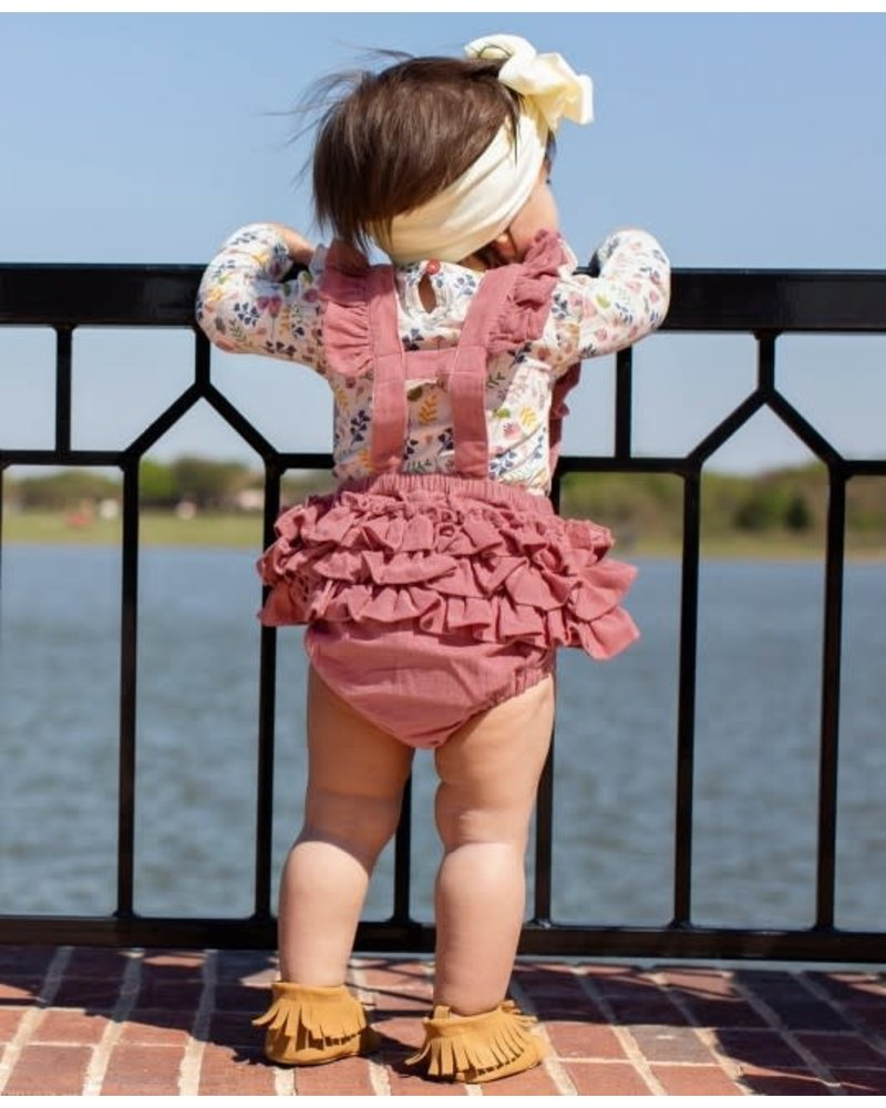 Ruffle Butts Monogrammed Mauve Overall Romper