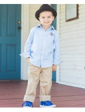 Boys Long Sleeve Chambray With Monogram