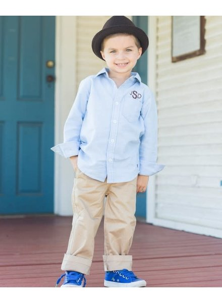 Rugged Butts Boys Long Sleeve Chambray With Monogram