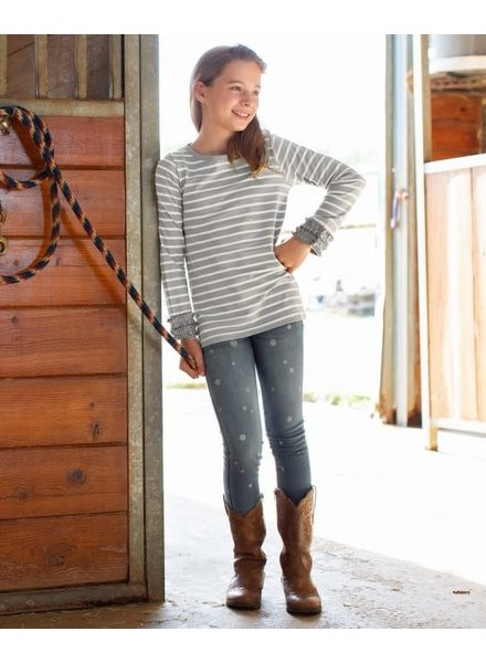 Ruffle Butts Monogrammed Gray Stripe Long Sleeve Tee