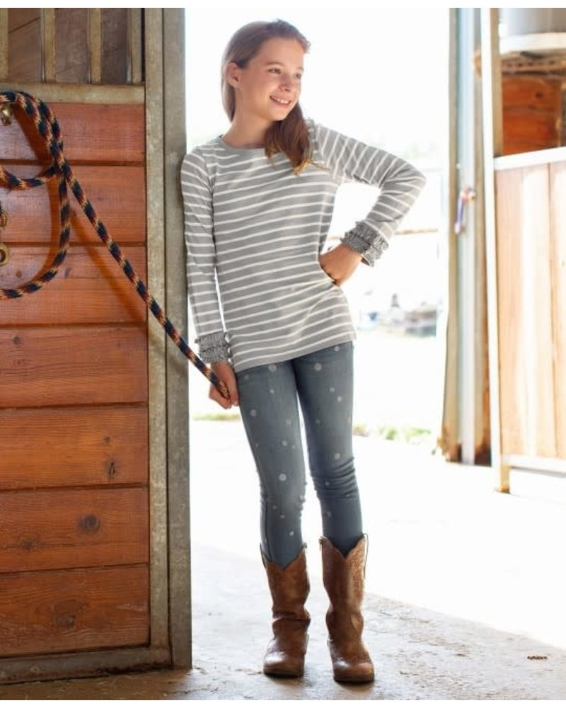 Ruffle Butts Gray & Ivory Stripe Long Sleeve Shirt