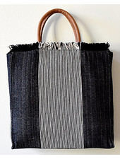 1968 & Co. Black Fringe Center Stripe Tote