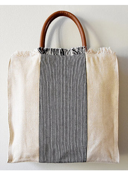 1968 & Co. Cream Fringe Center Stripe Tote