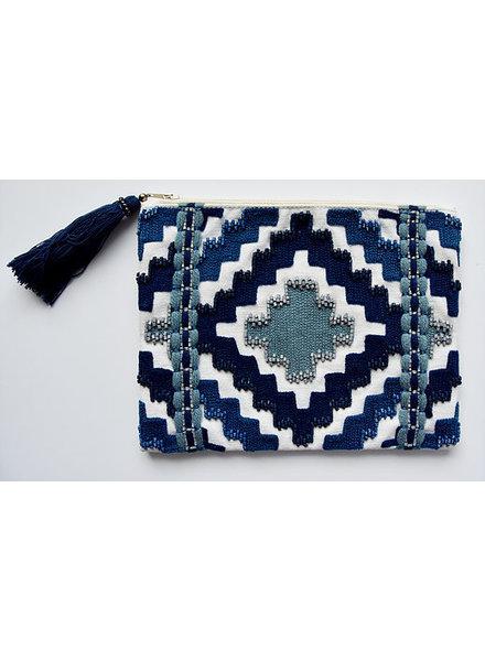 1968 & Co. Blue Beaded Zip Pouch