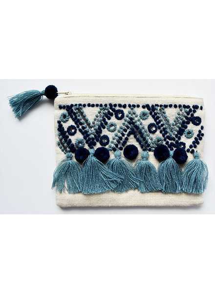 1968 & Co. Blue Tassel Zip Pouch