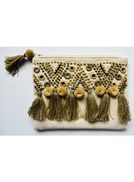 1968 & Co. Tan Tassel Zip Pouch