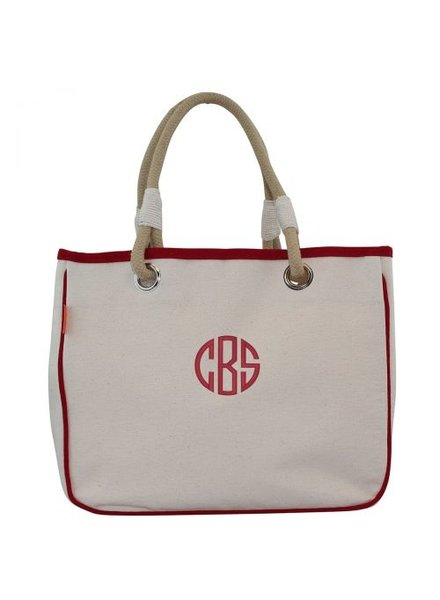 CB Station Monogrammed Rope Tote -7 Trim Colors