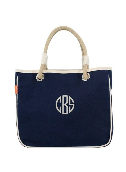 CB Station Monogrammed Rope Tote - 3 Solid Colors