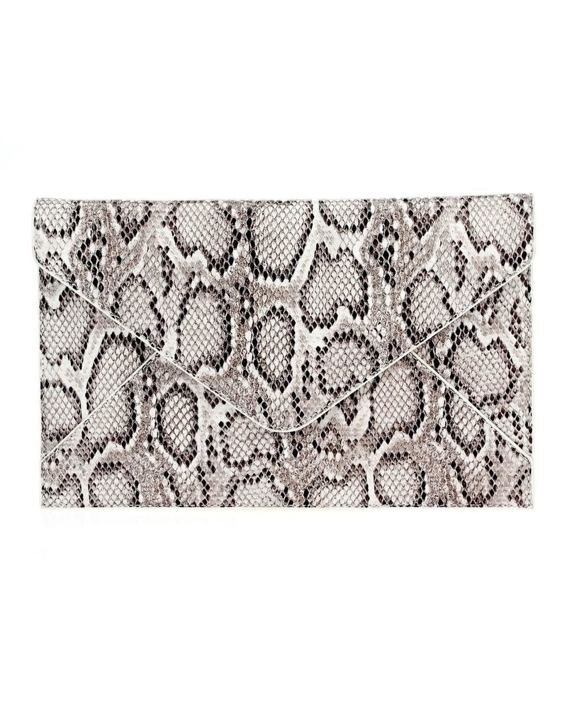 White Snakeskin Clutch