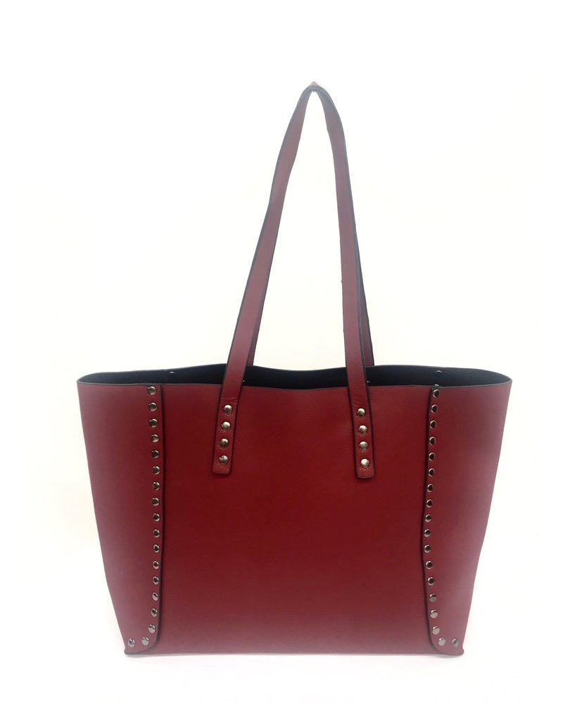 Black/Red Reversible Studded Tote