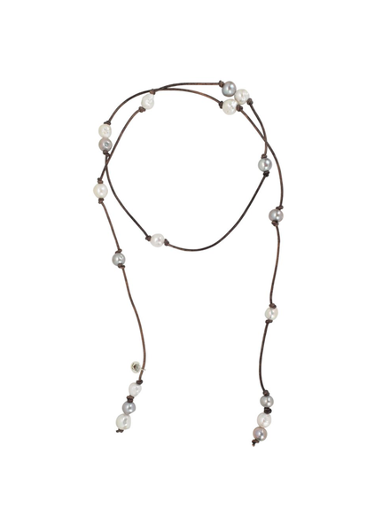Sea Lustre Lariat Pearl Wrap Necklace - Grey Pearls