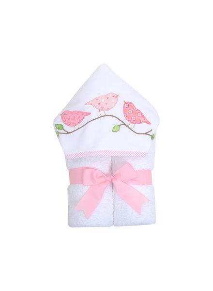 3 Marthas Pink Birds Hooded Towel