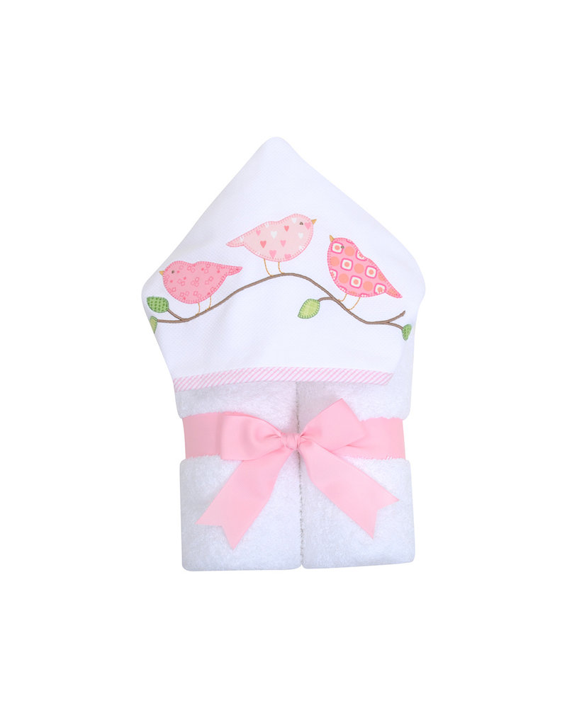 3 Marthas Pink Birds Personalized Hooded Towel