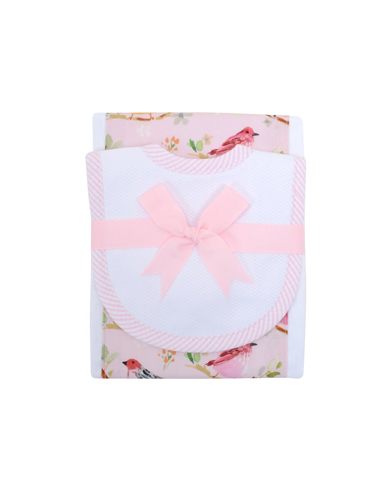 3 Marthas Pink Bird Bib & Burp Cloth Set