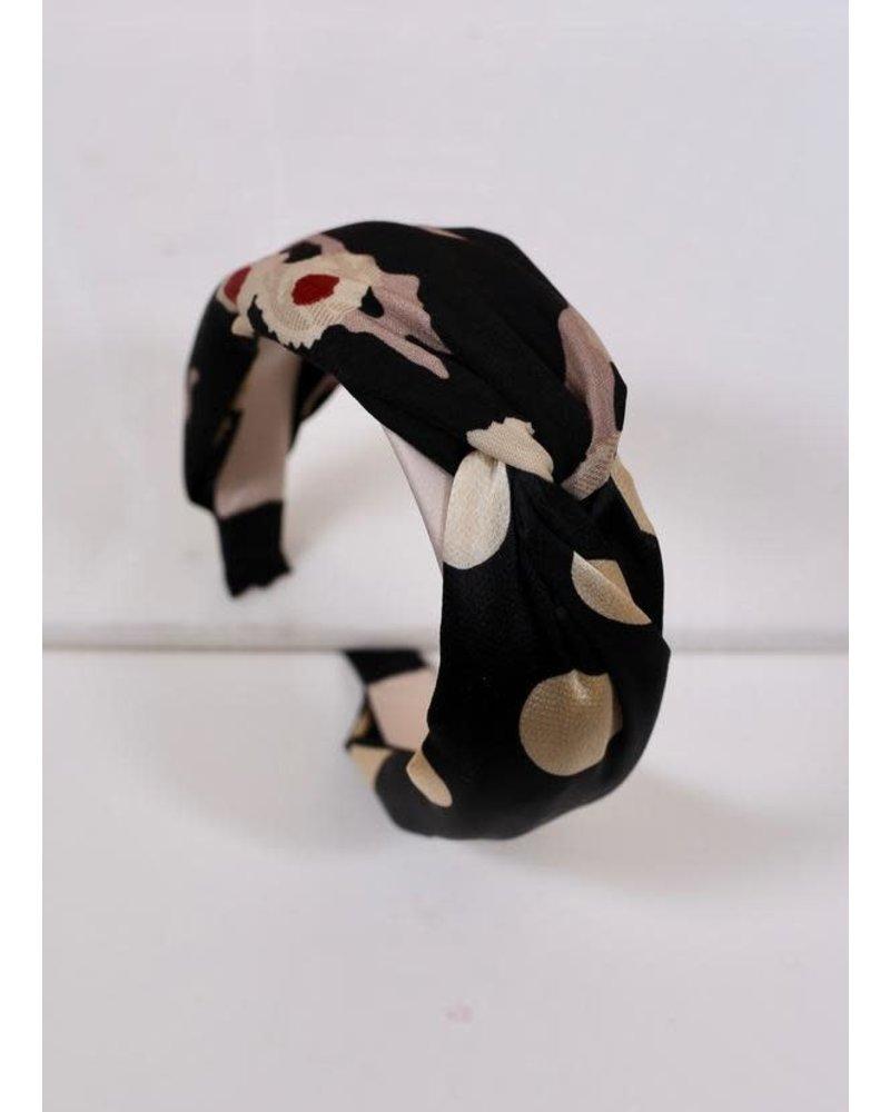 Caroline Hill Black Printed Knotted Headband