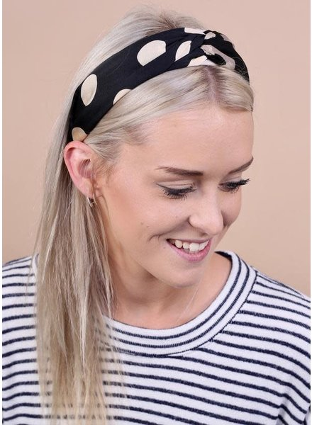 Caroline Hill Black Printed Knotted Headband