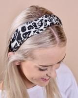 Caroline Hill White Leopard Knotted Headband