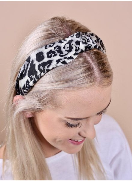 Caroline Hill White Leopard Knotted Headband